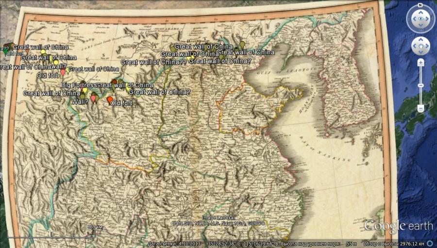 китаская стена на карте.