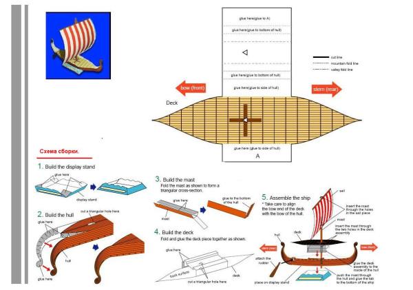 Макет корабля из бумаги