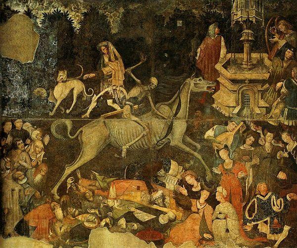 Всадник со стрелой и луком в средневековье зачастую был образ чумы.........