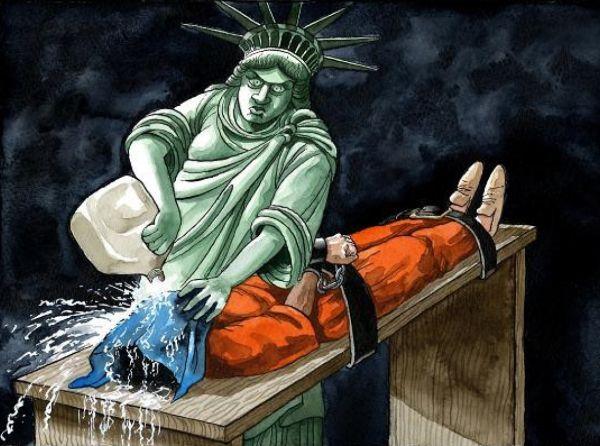 Карикатура на «пытки водой» в тюрьме Гуантанамо.