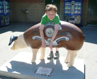 "This pig statue is titled, ""Ham Radio."""