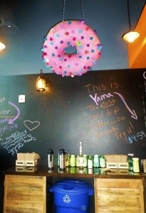 Pink Donut Over Blackboard