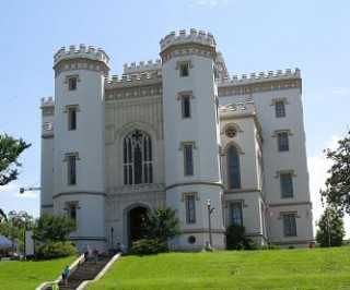 12:34 p.m. And here is the Old State Capitol building. It's no longer used as the state capitol, since a new, highrise .(castle)