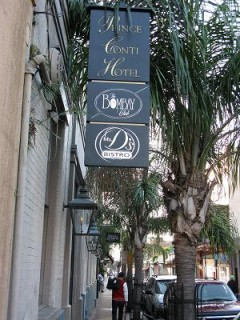 6:06 p.m. Prince Conti Hotel Sign