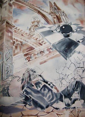 Cyber war. Played himself. Кибер война. Игра в себя, 2010, акварель, тонированная бумага, 86x61 см