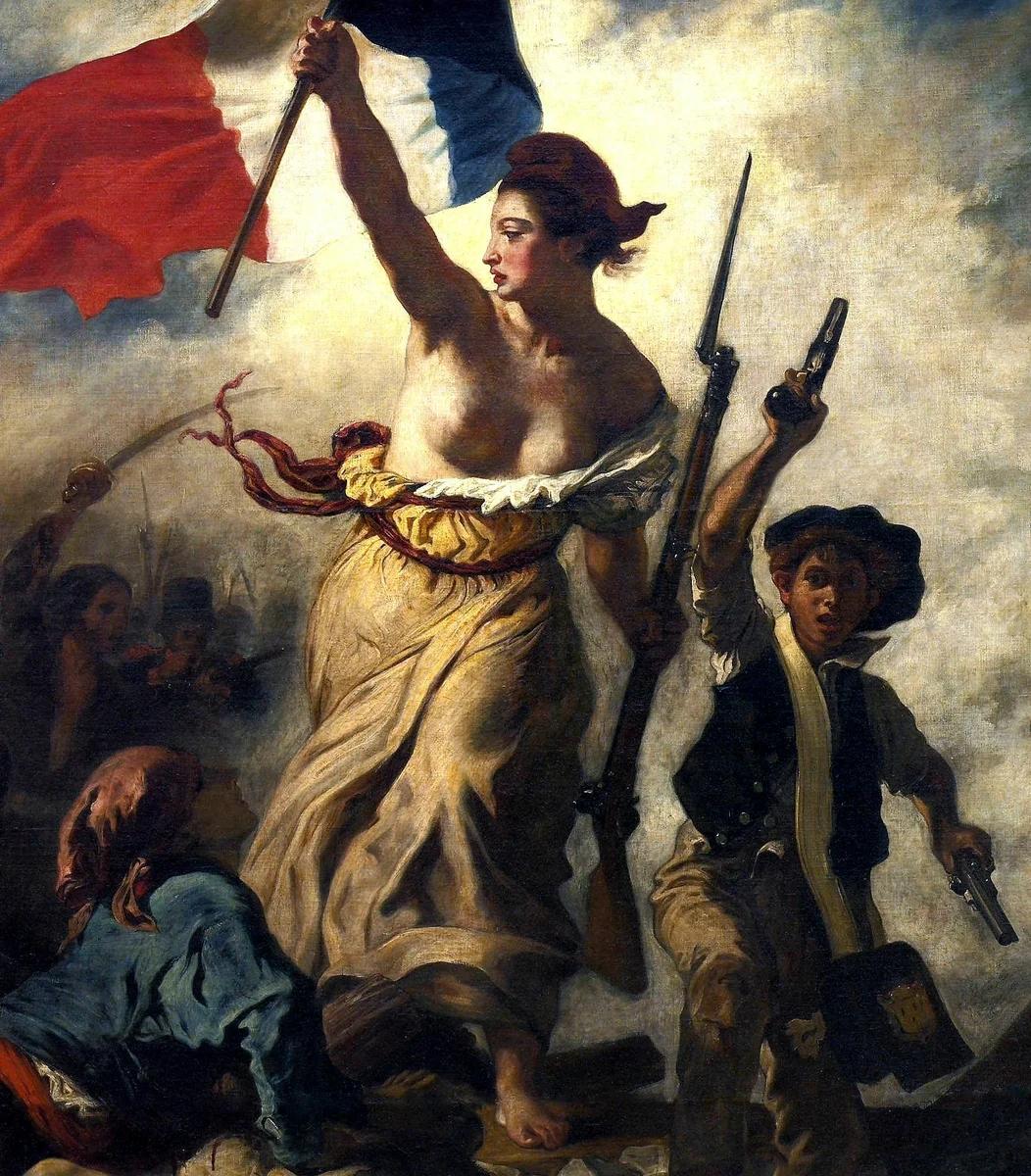 """Свобода на баррикадах"" - Э. Делакруа, фрагмент"