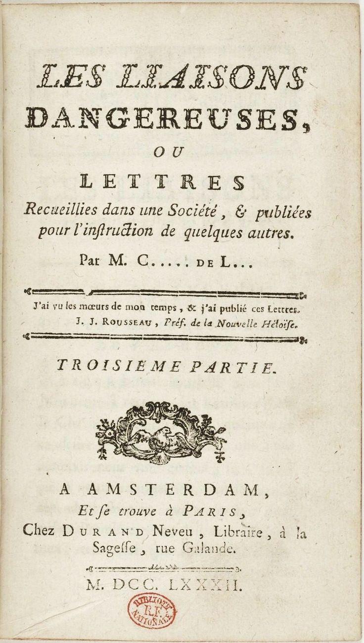 Титульный лист одного из первых изданий романа — Амстердам, 1782