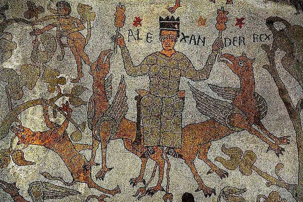 Александр Великий верхом на грифонах — мозаика из собора в Отранто