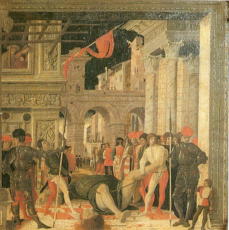 """""""Мученичество святого Христофора"""" — Андреа Мантенья, XV век — поздняя прорисовка фрески на шпалере, поскольку оригинал сохранился очень плохо"""