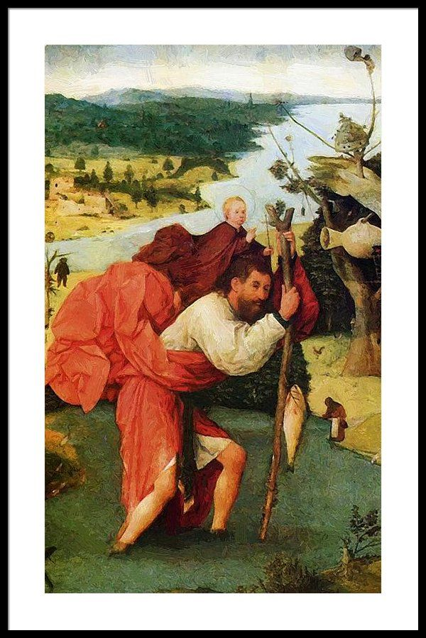 """""""Святой Христофор, переносящий Христа через реку"""" — Иероним Босх, 1505 год"""