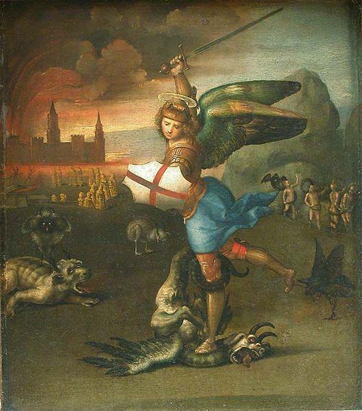 """""""Святой Михаил Архангел и Дракон"""" — Рафаэль, 1505 год"""