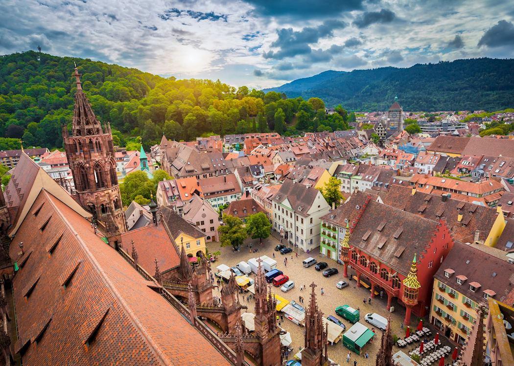 Фрайбург — панорама с крыши собора на Рыночную площадь