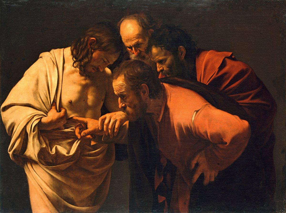 """""""Неверие святого Фомы"""" — Караваджо, XVII век"""