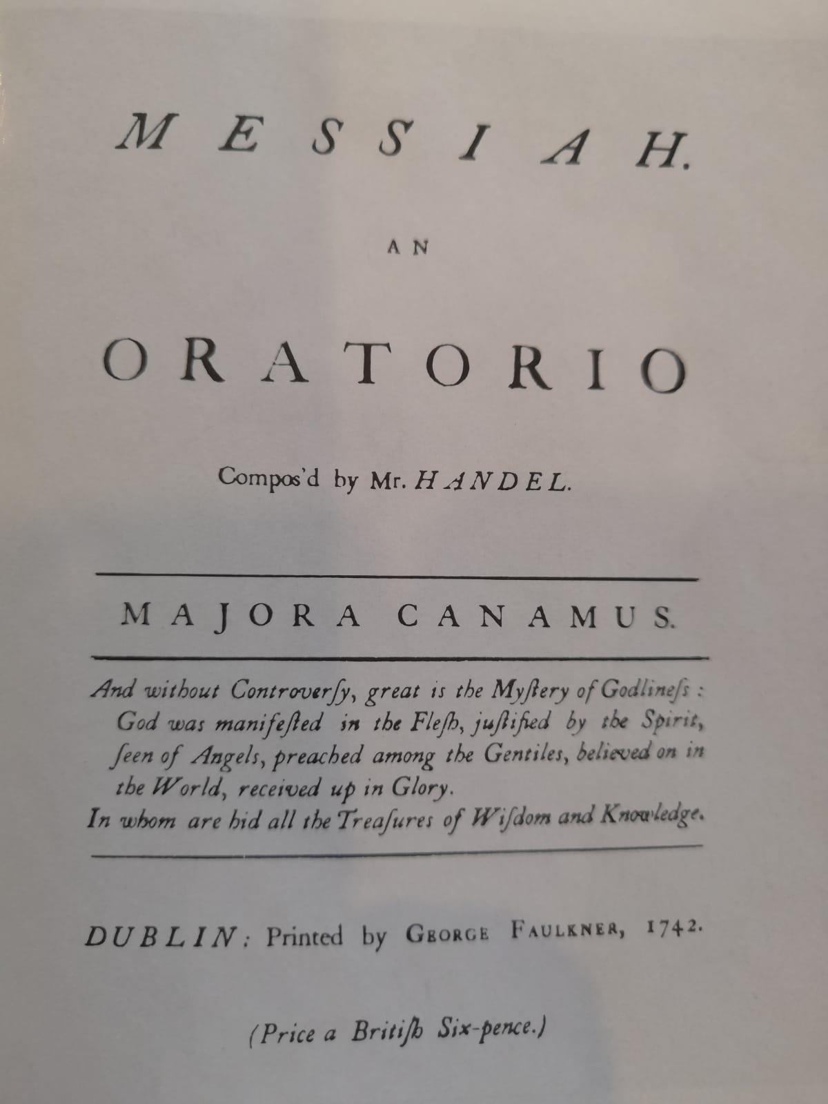 Титульный лист партитуры стоимостью 6 британских пенсов, изданной в 1742 году в Дублине к премьерному показу