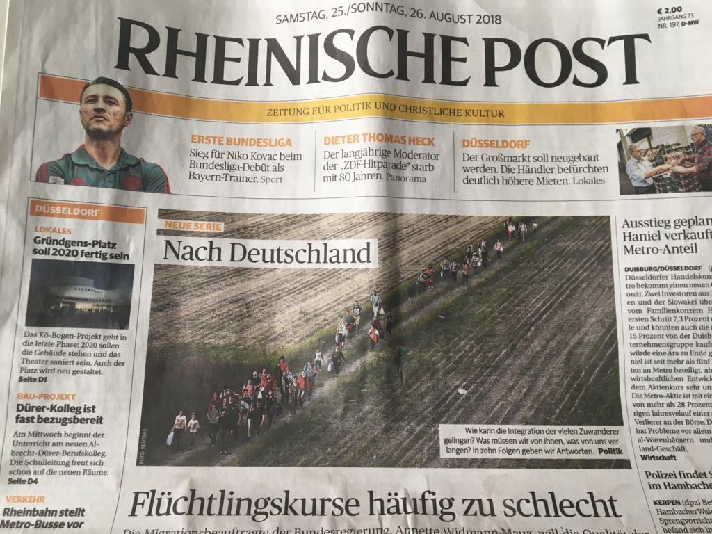 """""""Путь беженцев в Германию зачастую слишком тяжек"""" - первая полоса газеты Райнише Пост от 26.08.2018"""
