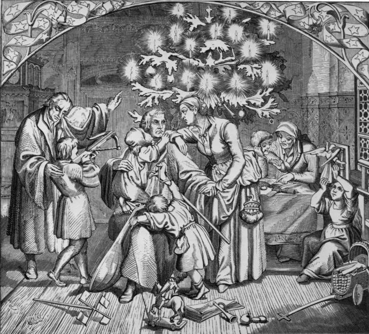 Мартин Лютер с ёлкой и семейством