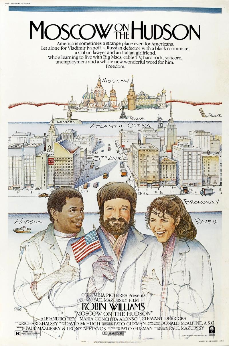 """Москва на Гудзоне"", 1984, США, Columbia Pictures, режиссёр и автор сценария Пол Мазурски, композитор Дэвид Макхью"