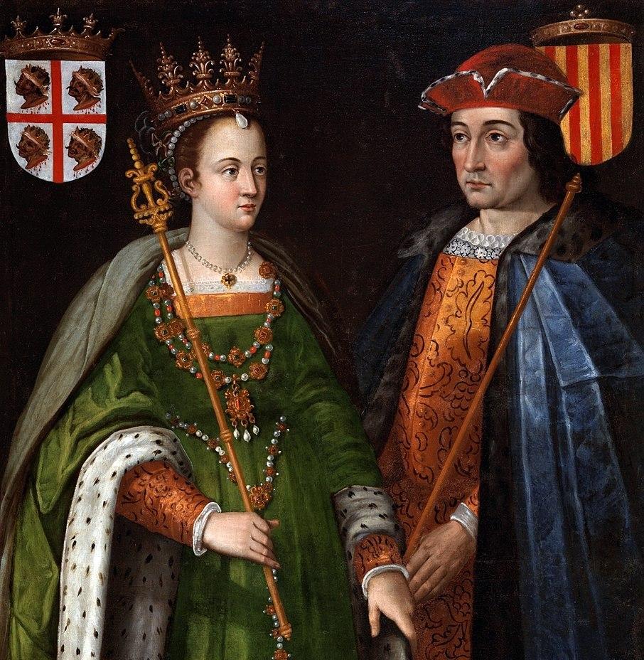 """""""Их Католические Величества"""" — Изабелла и Фердинанд, каждый со своим гербом"""