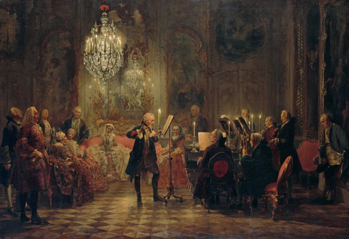 """Фридрих Великий музицирует — """"Флейтовый концерт в Сан-Суси"""" Адольфа фон Менцеля"""