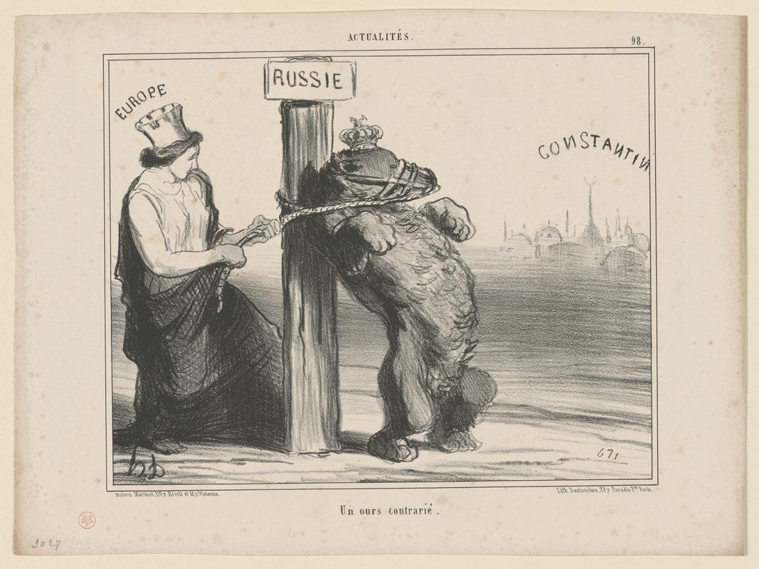 """""""Опечаленный медведь"""" — французская карикатура времён Крымской войны"""