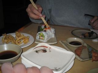 eel rolls, fried squid & pork cutlet