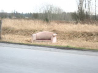 couch on the side of the road