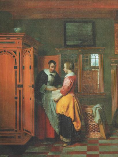 ПИТЕР ДЕХОХ Интерьер с женщинами перед бельевым шкафом