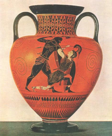 ЭКСЕКИЙ (550-520 до н.э.) Чернофигурная амфора Древняя Греция.