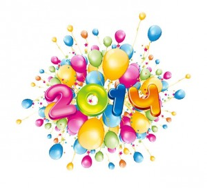 Happy-2014-New-Year-with-Colorful-Balloons-Vector-Illustration