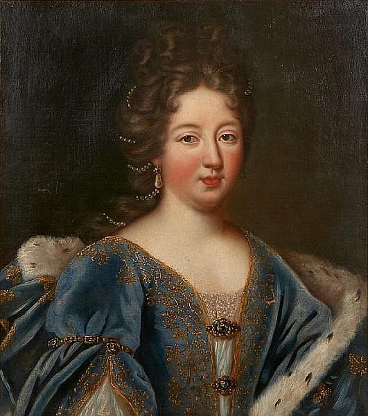 A portrait of a lady in an ornate blue gown with fur trimmed cape