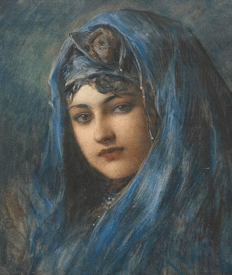 Flicka med blå sjal