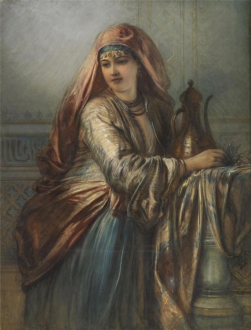 Palace Interior with Oriental Woman
