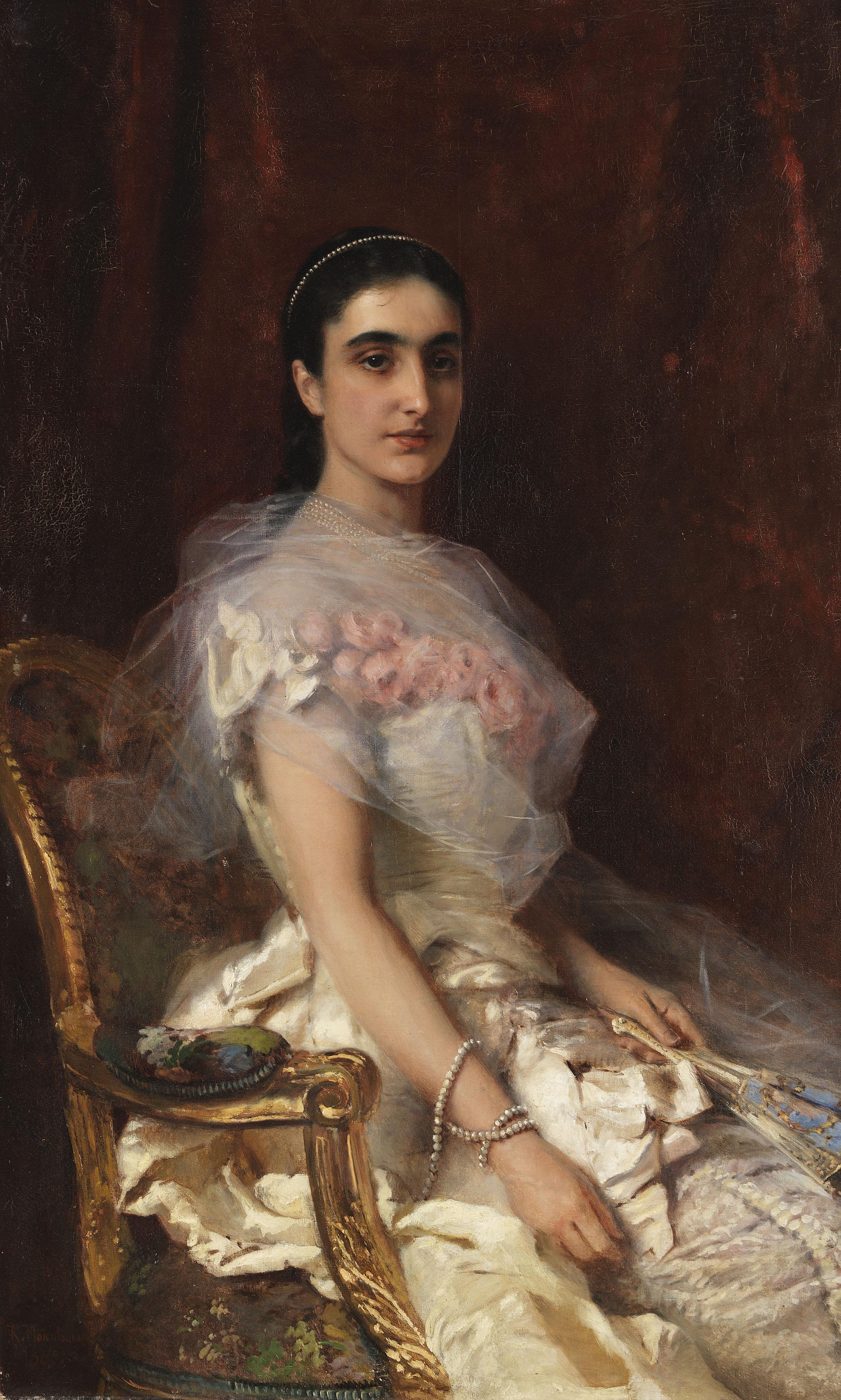 Porträt einer eleganten Dame mit Fächer, 1883
