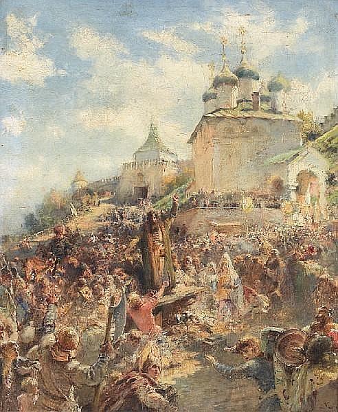 The appeal of Minin to the people of Nizhni Novgorod