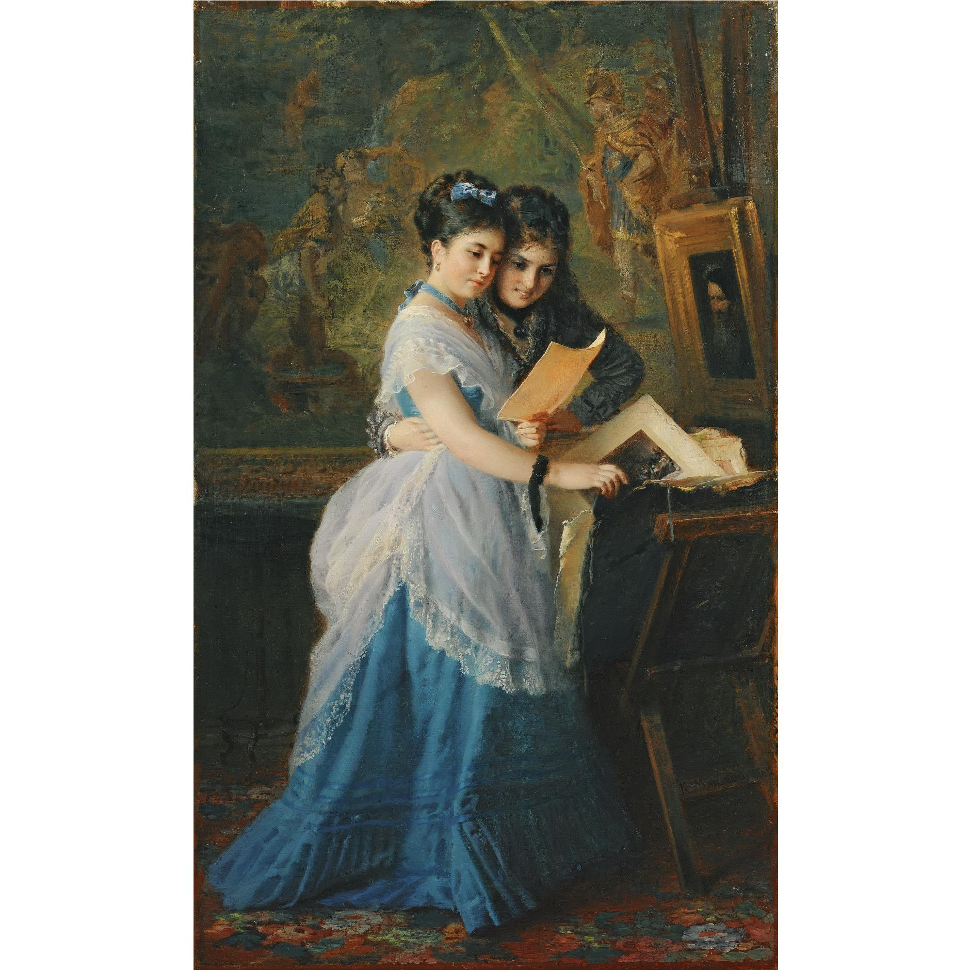 TWO LADIES LOOKING AT PRINTS