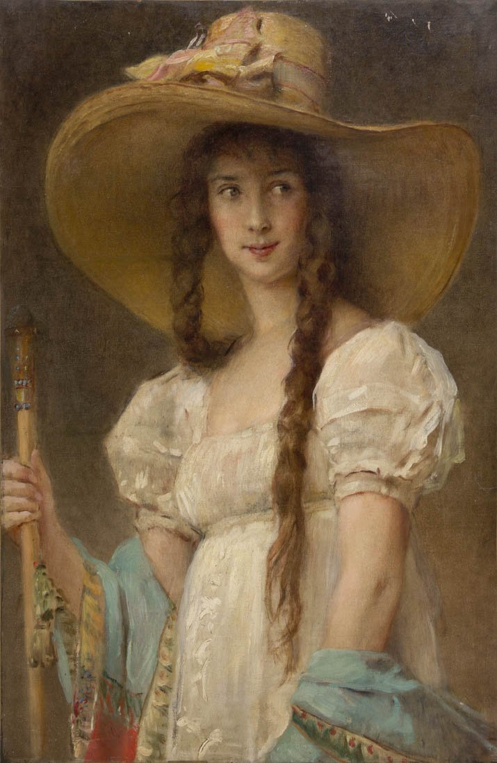 Woman in White with Hat