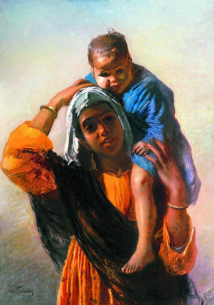 Восточная женщина с ребенком. 1880