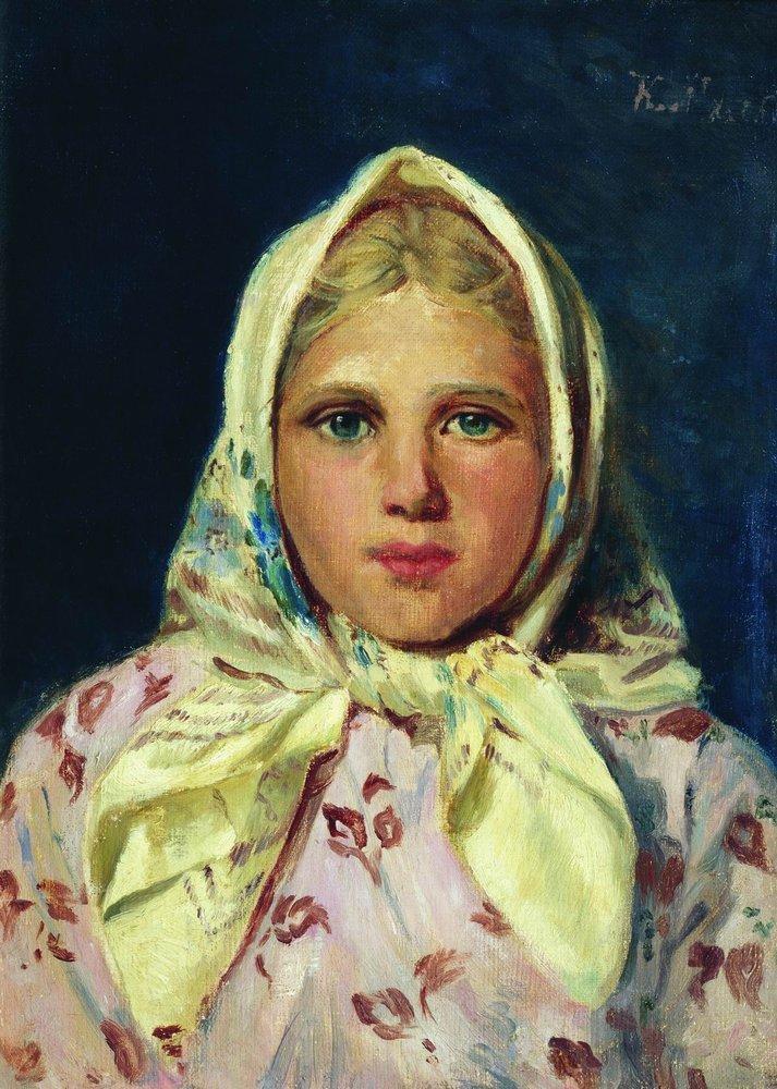 Девочка в платке (Портрет девочки). 1870-е