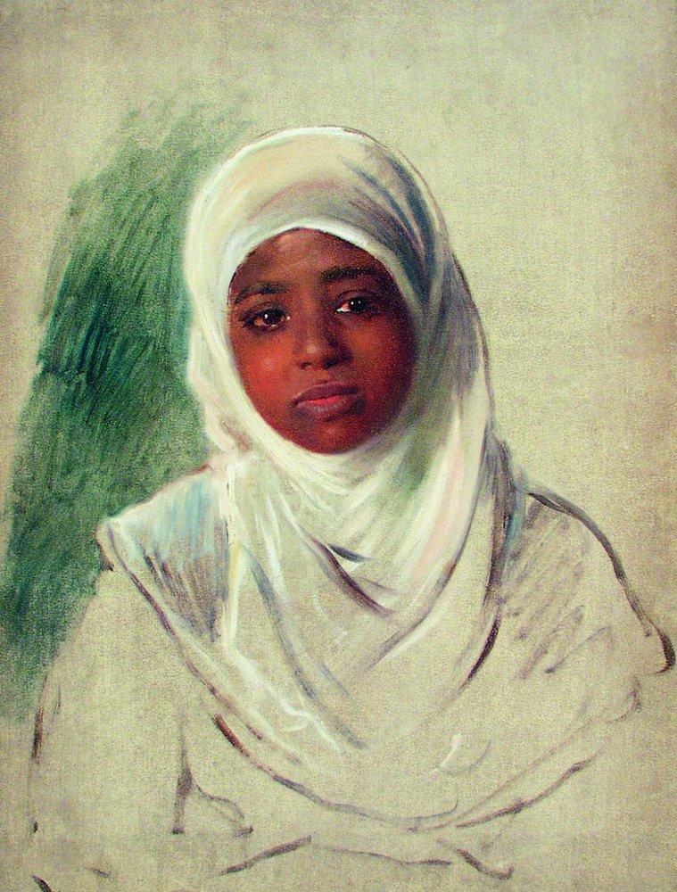 Девушка в бурнусе. 1870-е