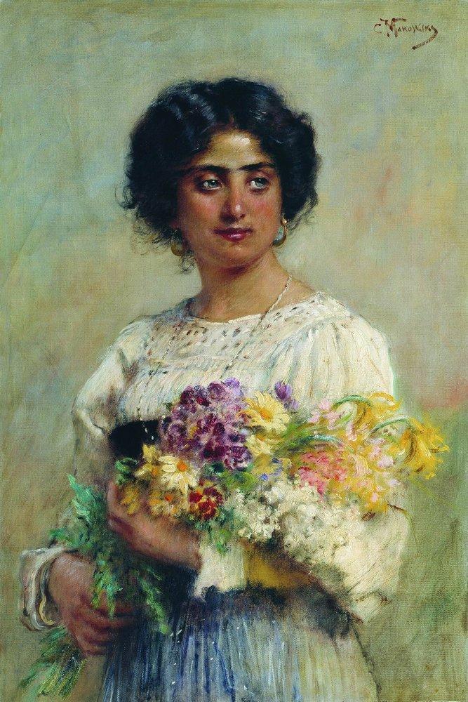 Девушка с букетом (Пеортрет сербиянки). 1876