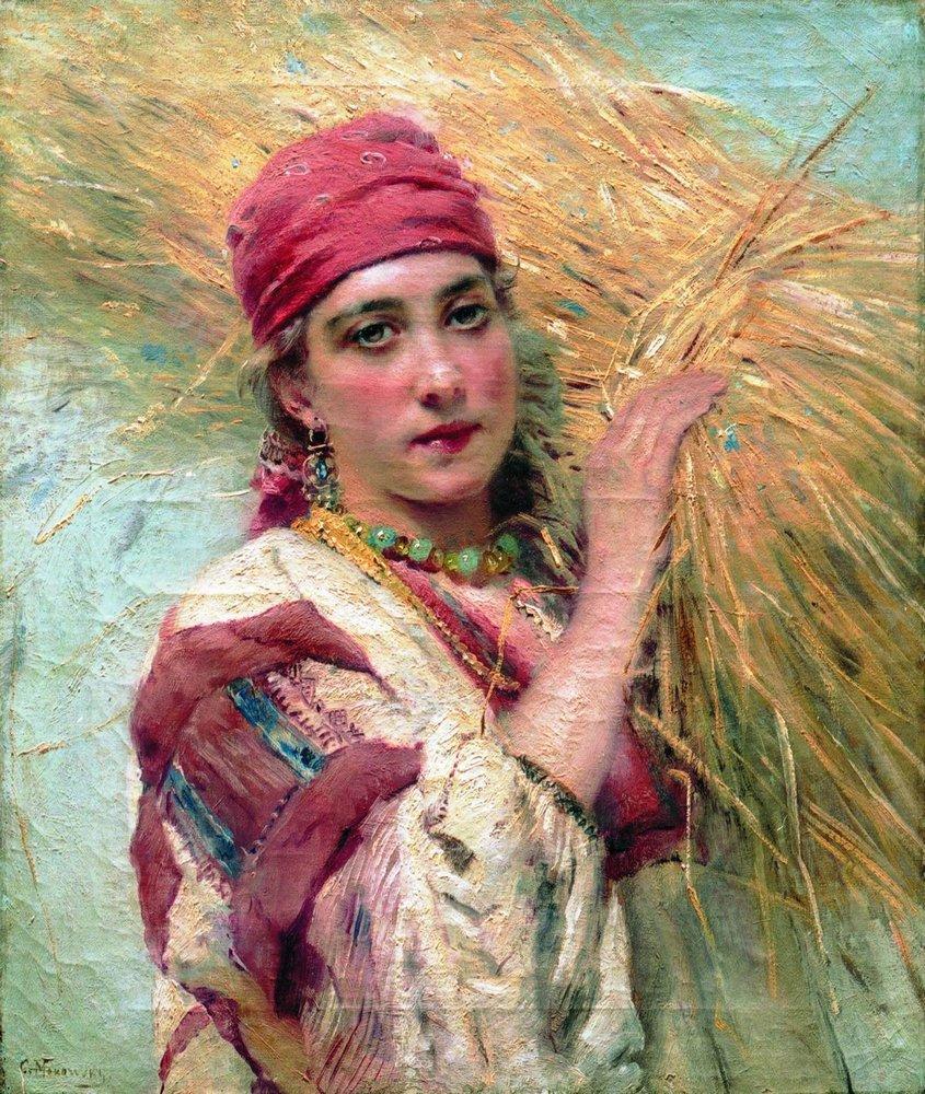 Девушка со снопом. 1880-е