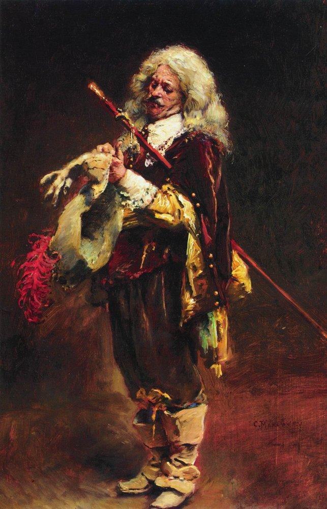 Кавалер, одевающий перчатку. 1890-е