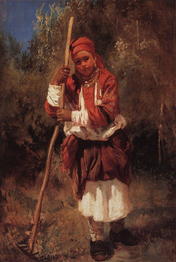 Малороссиянка с граблями. 1870-е