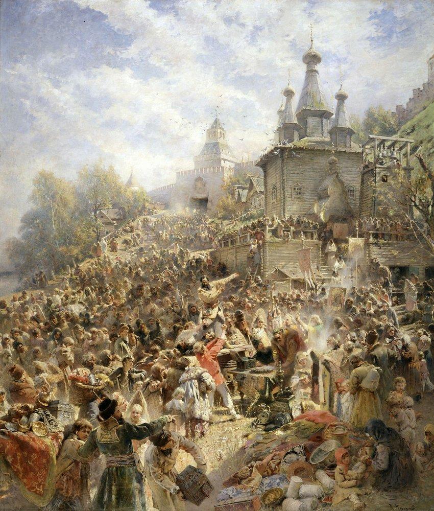 Минин на площади Нижнего Новгорода, призывающий народ к пожертвованиям. 1890-е
