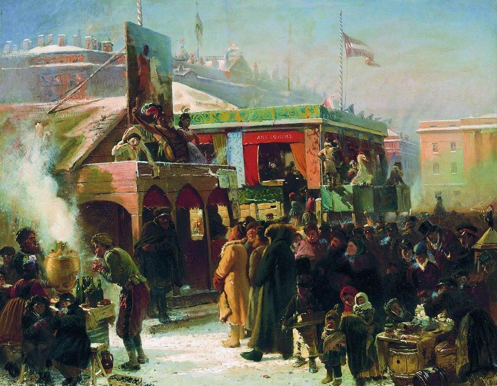 Народное гулянье во время масленицы на Адмиралтейской площади в Петербурге1. 1869