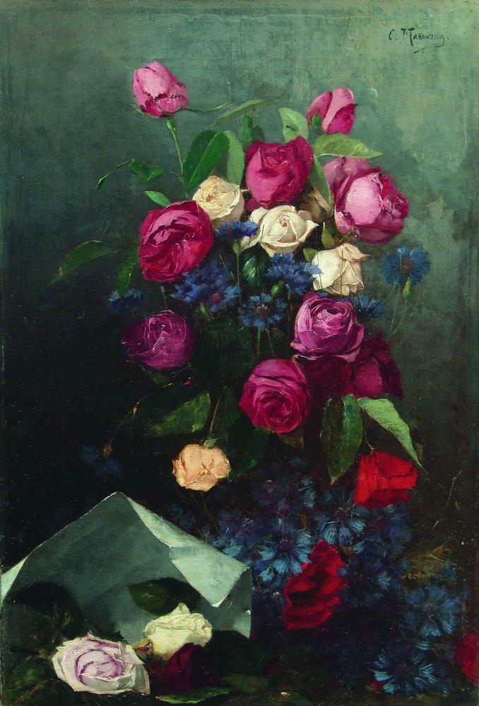 Натюрморт с розами и васильками. Вторая половина 1880-х