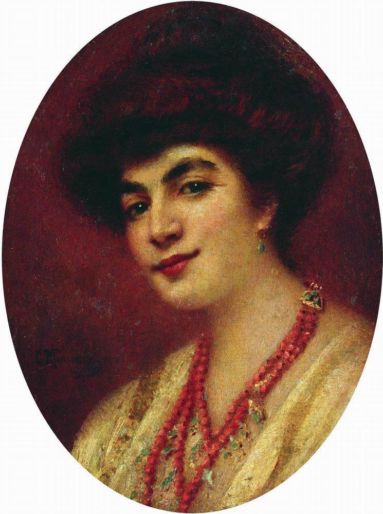 Портрет женщины с коралловыми бусами