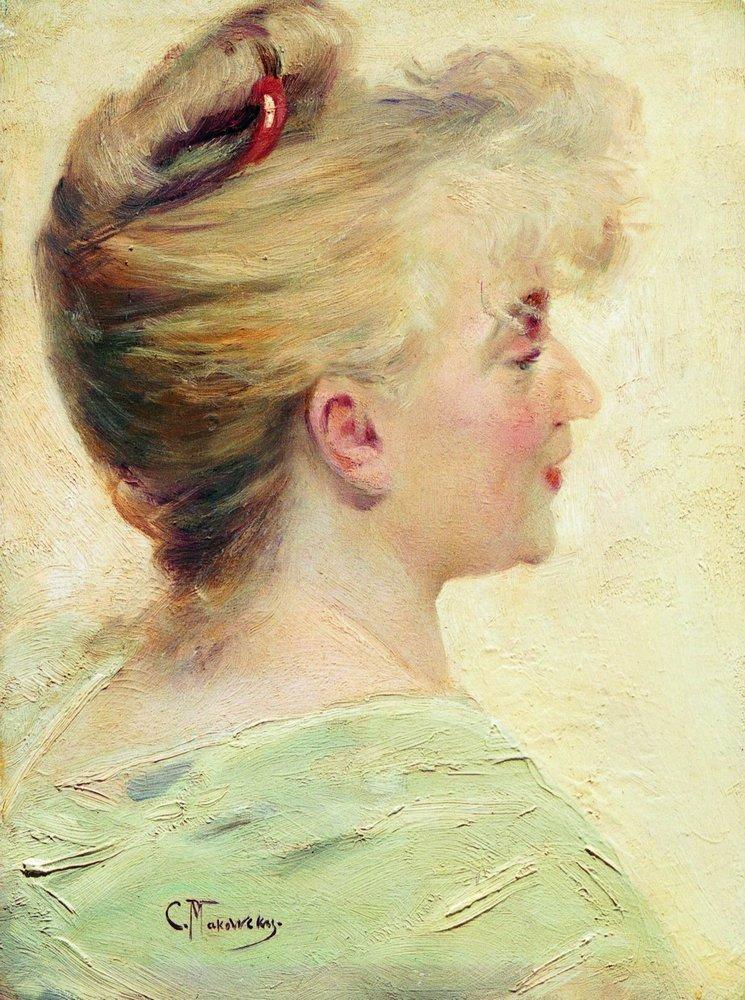 Портрет молодой женщины в профиль. 1890-е