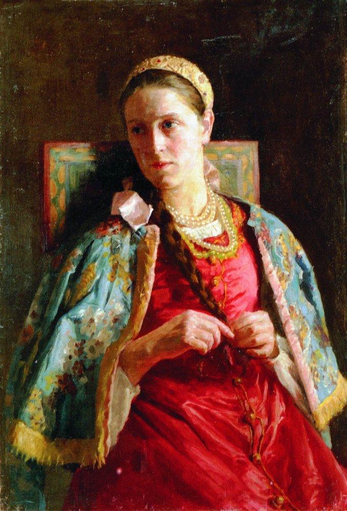 Портрет молодой женщины в русском костюме. 1880-е