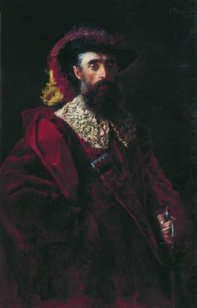 Портрет мужчины в красном бархатном костюме. 1882